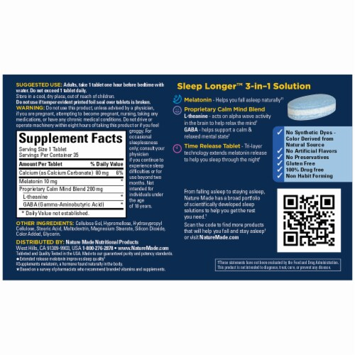 Nature Made Sleep Longer Max Strength Time Release Tablets Perspective: back