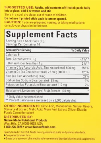 Nature Made Elderberry Max Fizzy Drink Mix Stick Packs Perspective: back
