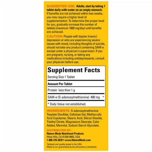 Nature Made® SAM-e Complete Enteric Coated Tablets 400mg Perspective: back