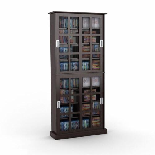 Atlantic Inc 72  Windowpane Media Cabinet in Espresso Perspective: back