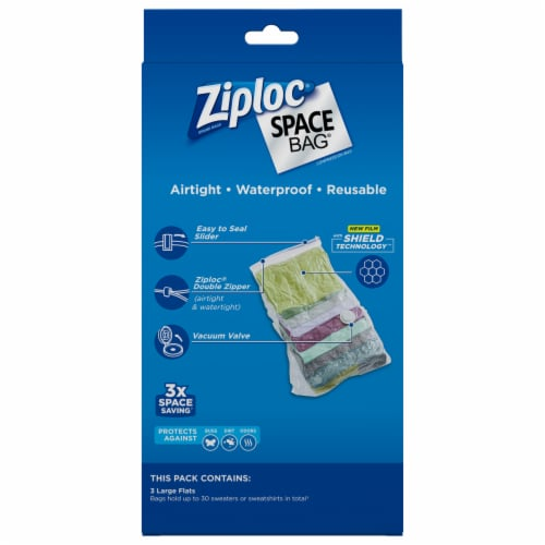 Ziploc Space Bag Large Flats Vacuum Seal Bags - 3 Pack Perspective: back