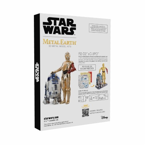 Fascinations Metal Earth Star Wars R2-D2 & C-3PO 3D Metal Model Kit Perspective: back