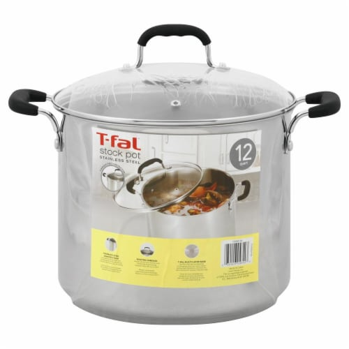 T-Fal Specialty Stainless Steel Stock Pot with Lid - Silver- 12 Quart Perspective: back