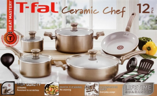 T-fal Ceramic Chef Cookware Set - Bronze/White Perspective: back
