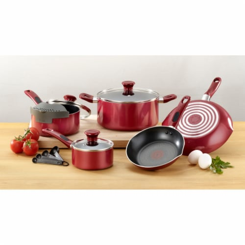 T-fal Excite Non-stick Cookware Set - Red Perspective: back