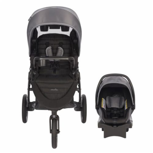 Evenflo Folio3 Stroller Jogger Travel System w/ LiteMax 35 Car Seat, Avenue Gray Perspective: back