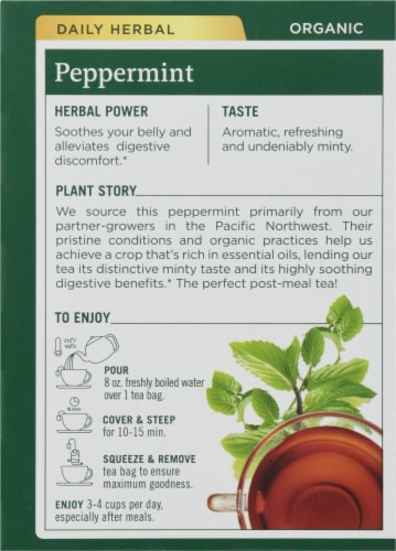Traditional Medicinals Organic Peppermint Tea Bags Perspective: back
