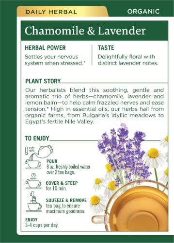 Traditional Medicinals Organic Chamomile with Lavender Tea Bags Perspective: back