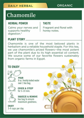 Traditional Medicinals Organic Chamomile Tea Bags Perspective: back