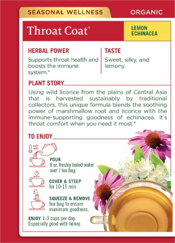 Traditional Medicinals Organic Throat Coat Lemon Echinacea Tea Bags Perspective: back