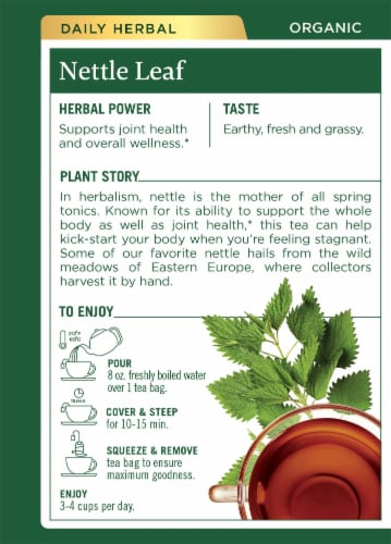 Traditional Medicinal Organic Nettle Leaf Tea Bags Perspective: back