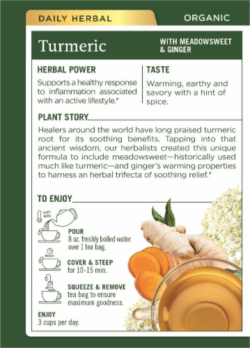 Traditional Medicinals Organic Turmeric with Meadowsweet & Ginger Tea Bags Perspective: back