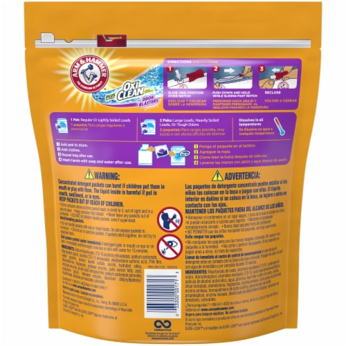 Arm & Hammer Plus Oxi Clean Fresh Burst 5-in-1 Laundry Detergent Paks Perspective: back