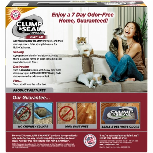 Arm & Hammer Clump & Seal Multi Cat Complete Odor Sealing Litter Perspective: back