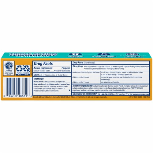 Arm & Hammer Bright & Strong Truly Radiant Crisp Mint Whitening Toothpaste Perspective: back