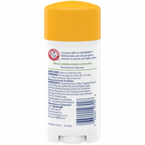 Arm & Hammer Essentials Unscented Natural Deodorant Perspective: back