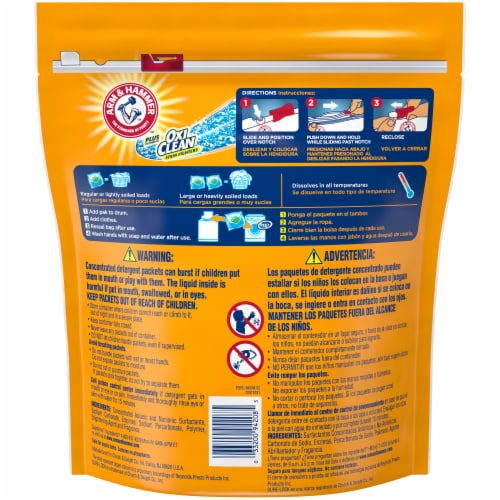 Arm & Hammer Plus OxiClean 3-in-1 Fresh Scent Laundry Detergent Power Paks Perspective: back