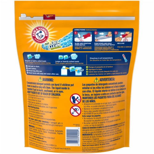 Arm & Hammer Plus OxiClean 5-in-1 Power Paks Fresh Scent Concentrated Laundry Detergent 40 Count Perspective: back