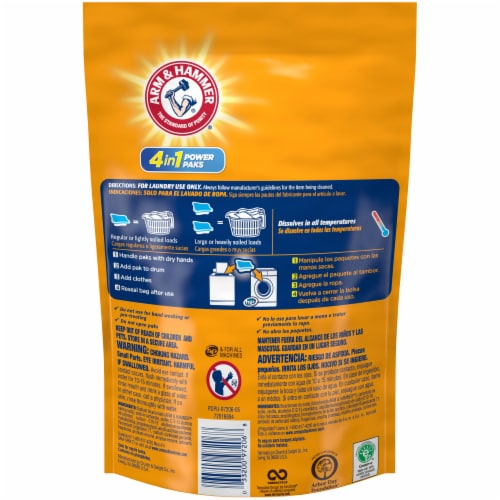 Arm & Hammer 4-in-1 Clean Burst Scent Concentrated Laundry Detergent Power Paks Perspective: back