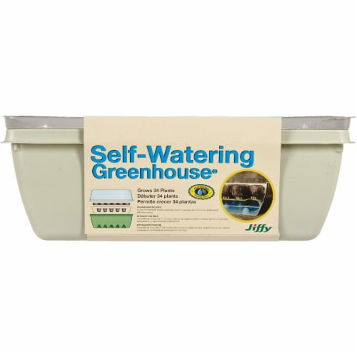 Jiffy 34-Cell 11 In. x 11 In. Self Watering Greenhouse Seed Starter Kit T34H Perspective: back