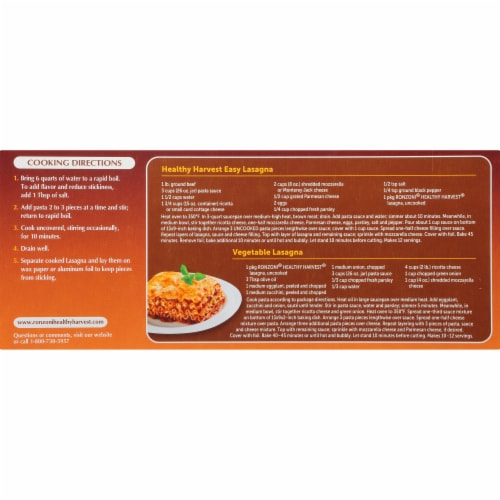 Ronzoni® Healthy Harvest® Whole Grain Lasagna Perspective: back