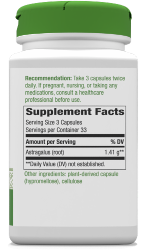 Nature's Way Astragalus Root Capsules 1410mg Perspective: back