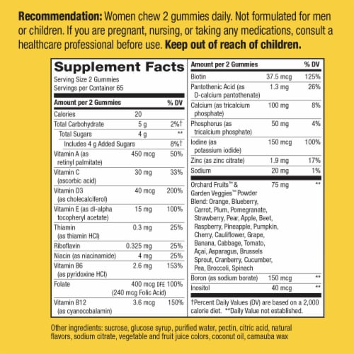 Nature's Way Alive! Mixed Berry Women's Multi-Vitamins Gummies Perspective: back