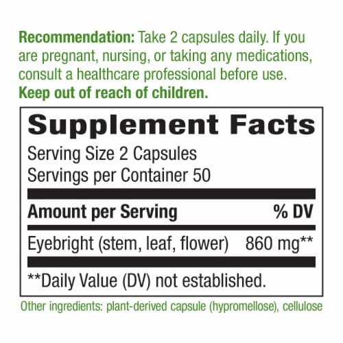 Nature's Way Eyebright Herb Capsules 860 mg Perspective: back