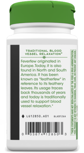Nature's Way Feverfew Leaves Capsules 380 mg Perspective: back