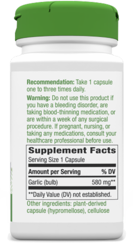 Nature's Way Garlic Bulb Capsules 580mg Perspective: back
