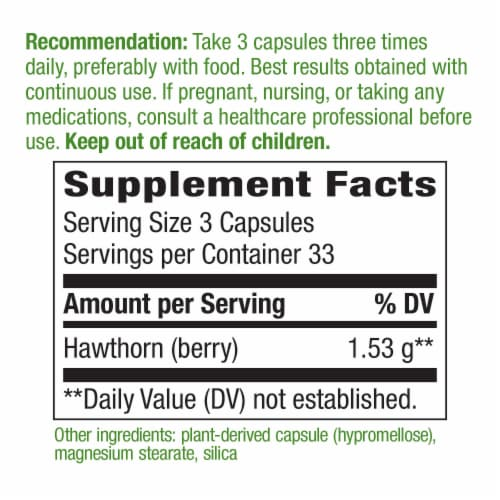 Nature's Way Hawthorn Berries Capsules 510 mg Perspective: back