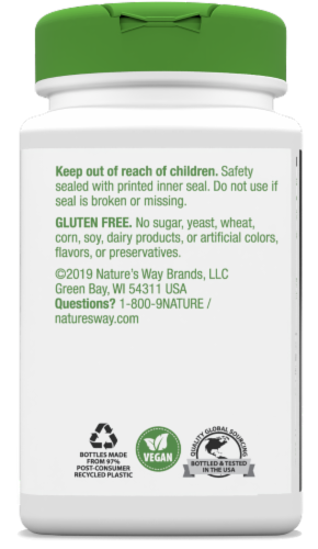 Nature's Way Olive Leaf Capsules 500mg Perspective: back