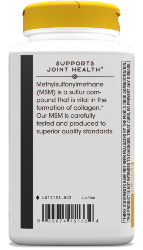 Nature's Way MSM Tablets 1000 mg Perspective: back