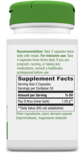 Nature's Way® Pau D'arco Inner Bark Capsules 545 mg Perspective: back