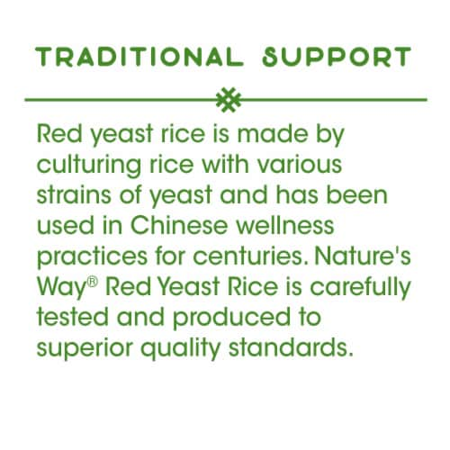 Nature's Way Red Yeast Rice Vegan Capsules 600mg Perspective: back