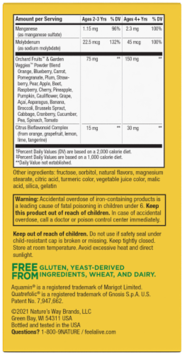 Nature's Way Alive! Children's Chewable Tablets Perspective: back
