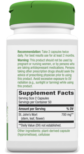 Nature's Way St. John's Wort Capsules 350mg Perspective: back