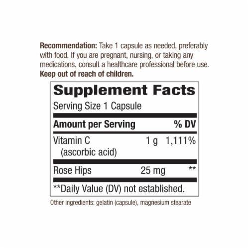 Nature's Way Vitamin C with Rose Hips Capsules 1000mg Perspective: back