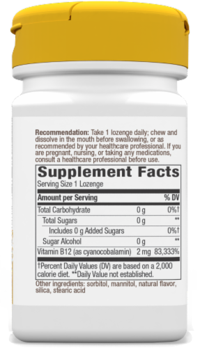 Nature's Way Cherry Flavored Vitamin B-12 Vegan Lozenges 2000mcg Perspective: back