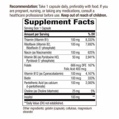Nature's Way B-100 Complex Dietary Supplement Capsules Perspective: back