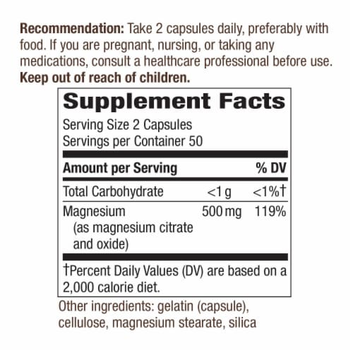 Nature's Way Magnesium Complex Dietary Supplement Capsules 500mg Perspective: back