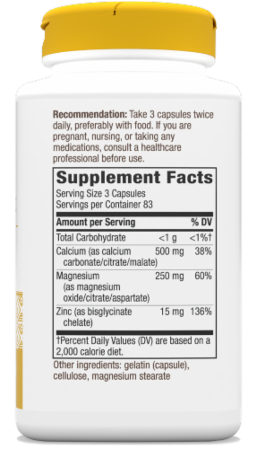 Nature's Way Calcium Magnesium and Zinc Capsules Perspective: back