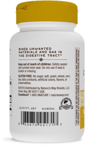 Nature's Way Activated Charcoal Internal Cleansing Capsules Perspective: back