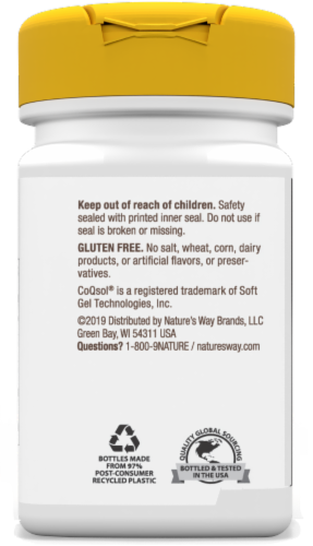 Nature's Way Coq10 Dietary Supplement Softgels 100mg Perspective: back