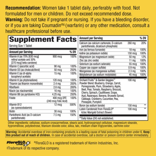 Nature's Way Alive! Women's Energy Tablets Perspective: back