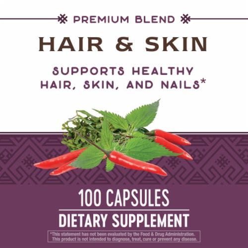 Nature's Way Hair & Skin Supplement Capsules Perspective: back