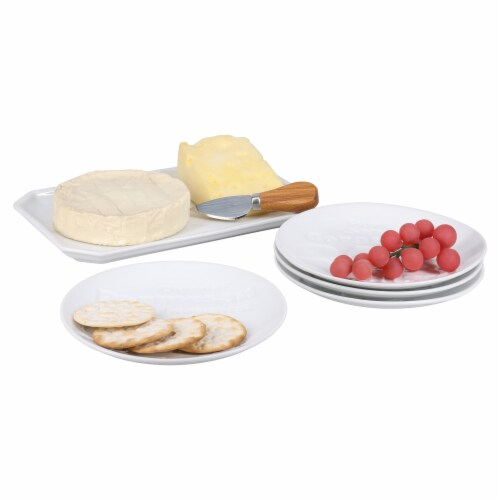BIA Cordon Bleu Debossed Cheese Plates Set - White Perspective: back