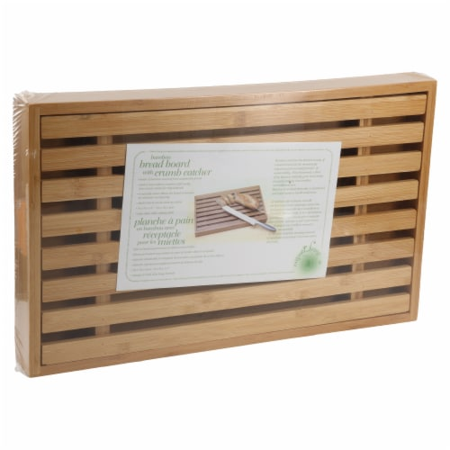 Danesco Bamboo Bread Cutting Board with Crumb Catcher Perspective: back