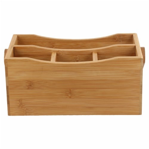 Natural Living Bamboo 4-section Flatware Caddy with Handle Perspective: back