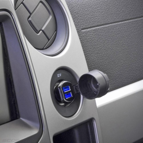 Scosche ReVOLT Dual 12-Watt USB Car Charger with Illuminated Ports - Black Perspective: back